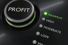 Maximum Profit Concept. Button For Maximize Income. 3D Rendered Illustration.