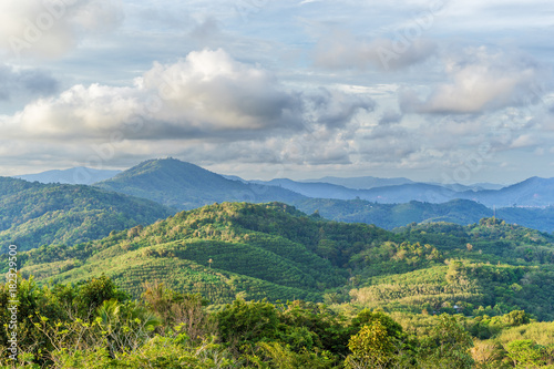 Tuinposter Blauwe jeans View of the hills and forests of Phuket, Thailand