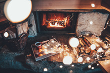 Warm Cozy Fireplace With Real ...