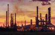 Leinwandbild Motiv Oil refinery at twilight sky, close up to pipe line
