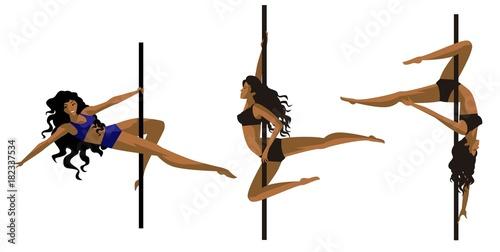 Slika na platnu pole dancer fitness african girls