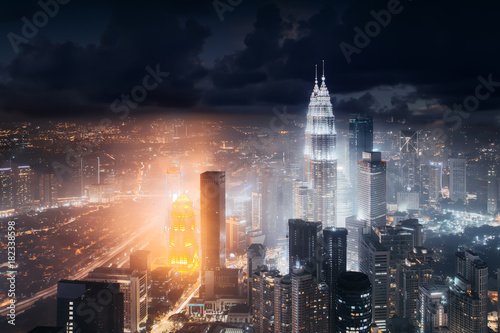 Staande foto Kuala Lumpur Aerial skyline view to Kuala Lumpur city, Malaysia. Business skyscrapers night downtown background