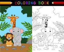 Cartoon Safari Animal Coloring...