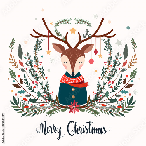 Fotografía  Christmas greeting card with deer and decorative seasonal branches