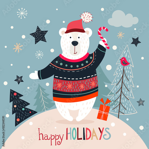 Christmas Wishes Bear.Christmas Greeting Card With White Bear On A Winter