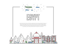 Travel Egypt Poster With Famou...