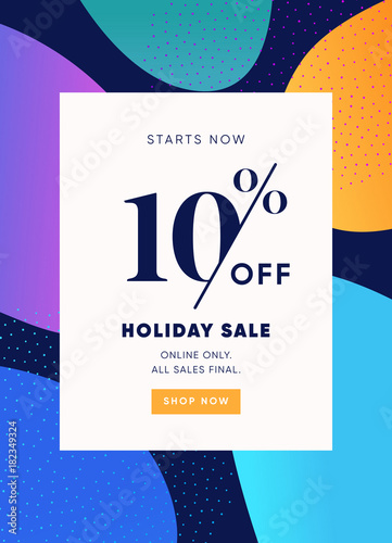 Holiday Banner 10 Off Special Offer Ad Promotion Vector Price Modern Promo Flyer Or Poster Template