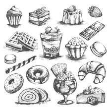 Cakes And Cupcakes Pastry Bakery Desserts Vector Sketch Icons Set