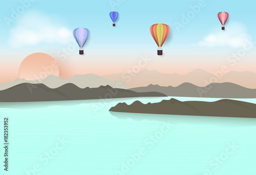 Tuinposter Lichtblauw Hot air balloon travel in blue sky over the lake and mountain. Paper art, Paper cut style illustration.