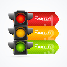 Realistic 3d Detailed Road Traffic Light Banner Card. Vector