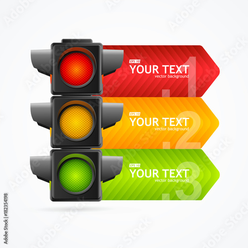 Fotografiet  Realistic 3d Detailed Road Traffic Light Banner Card. Vector