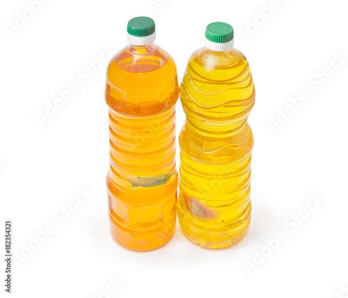 Fototapeta Two bottles of sunflower oil and corn oil obraz