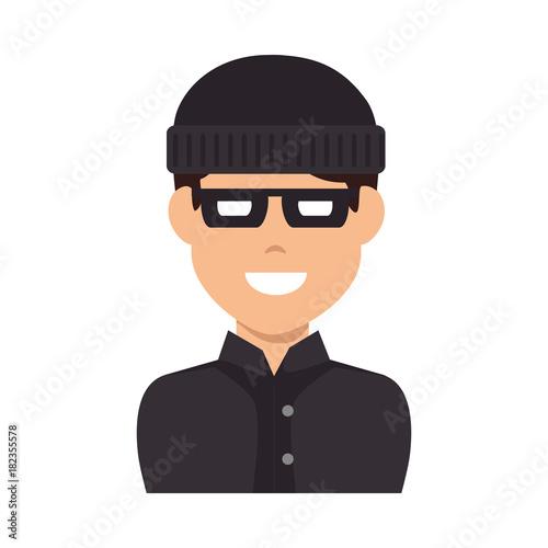 Fotografie, Obraz  thief avatar character icon vector illustration design