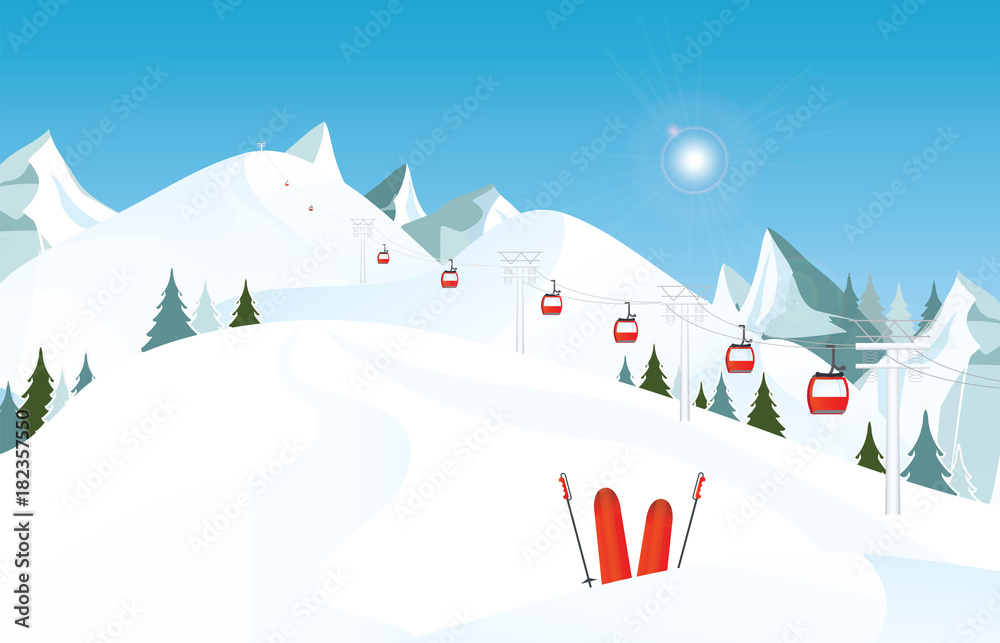 Fototapeta Winter mountain landscape with pair of skis in snow and ski lift.
