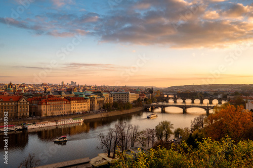 Fotografie, Obraz  Panorama of the old part of Prague from the Letna park at dusk
