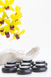 Spa therapy with hot stones and orchid flowers close up