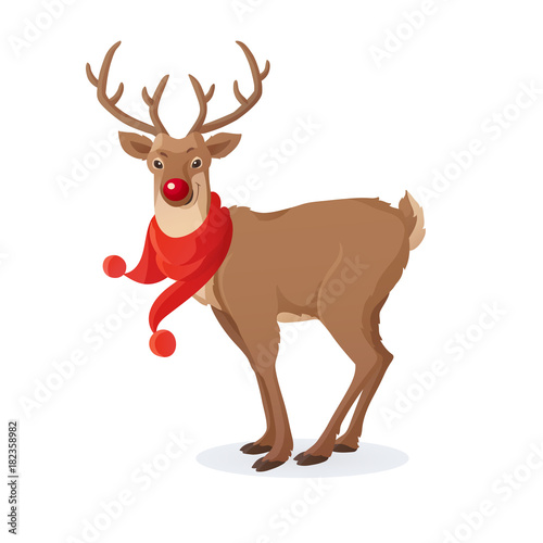 Cartoon Christmas Illustration Funny Rudolph Red Nose Reindeer With