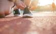 Athlete start running on treadmill. workout wellness concept.