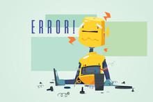 Broken Robot Showing Error Con...