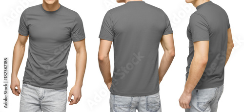 Young Male In Blank Gray T Shirt Front And Back View Isolated White