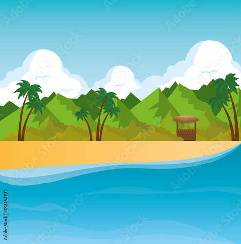 Wall Murals Green coral beautiful landscape summer time on the beach with palms vector illustration graphic design