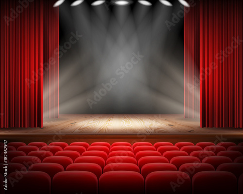 In de dag Theater Open red curtain and empty illuminated theatrical scene realistic vector illustration. Grand opening concept, performance or event premiere poster, announcement banner template with theater stage