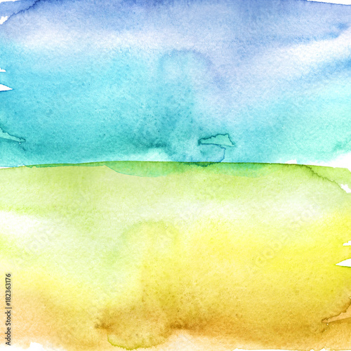 Fotobehang Zwavel geel Watercolor splash stain, blue and yellow. Abstract blot, background. Watercolor field, sky and grass.
