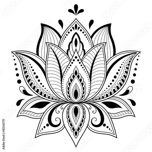 686c126870fc8 Henna tattoo flower template in Indian style. Ethnic floral paisley -  Lotus. Mehndi style. Ornamental pattern in the oriental style.