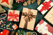 Christmas Presents On Dark Bac...