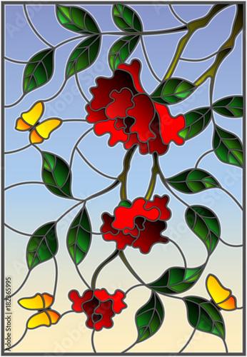 ilustracja-w-stylu-witrazu-z-kwiatow-lisci-rozy-i-motyli