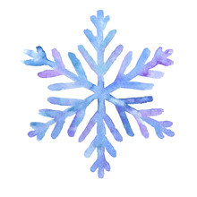 Hand Drawn Watercolor Blue Snowflake Isolated On White Background. Winter Season Illustration.