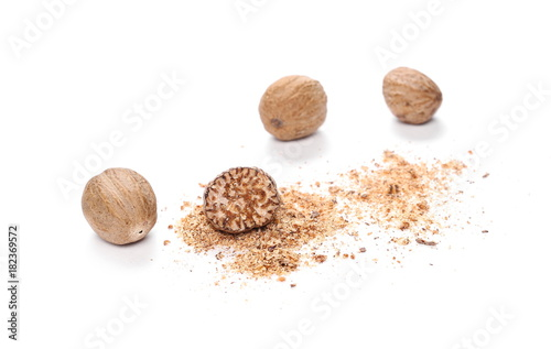 Valokuva  Milled nutmeg powder isolated on white background