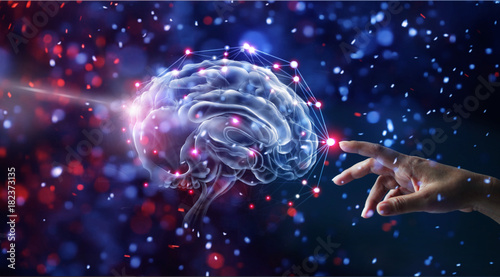 Obraz Hand touching brain and network connection on glitter bright lights colorful  background - fototapety do salonu
