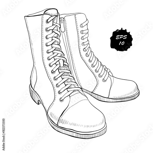 illustration of hand drawn graphic Men and women Footwear, shoes Poster