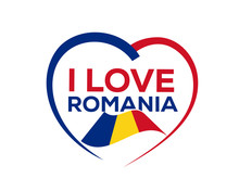 I Love Romania With Outline Of...