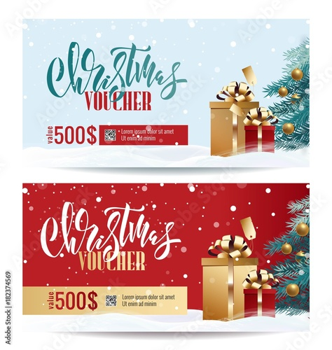 christmas gift voucher coupon discount gift certificate template for merry christmas shopping concept