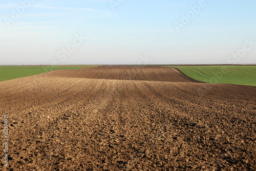 Aluminium Prints Culture plowed field landscape autumn season