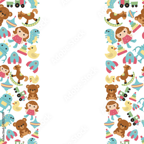 Fotobehang Kids Background with children toys
