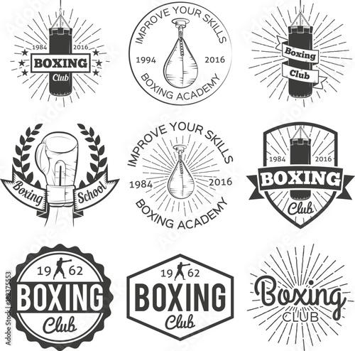 Photo sur Toile Papillons dans Grunge Boxing club badge set