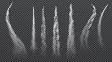 Airplane Condensation Trails. Jet Trailing Smoke Isolated Vector Set