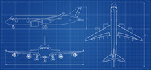 Airplane Blueprint. Outline Ai...