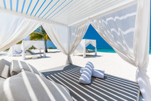 Luxury Beach Scene And Loungers And Sea View