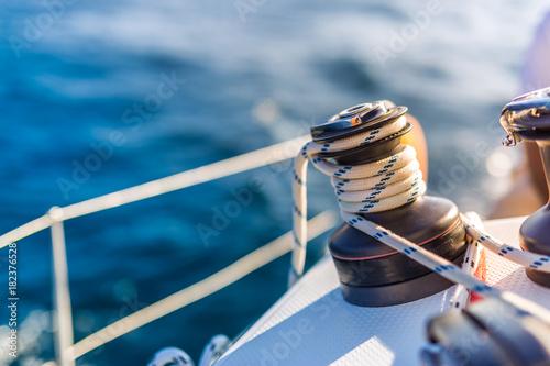 Fotografia Sailing. Boat or yacht details. Sailing background