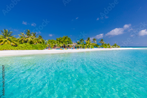 Beautiful Beach Scene In Maldives Beach Bar And Blue Sea