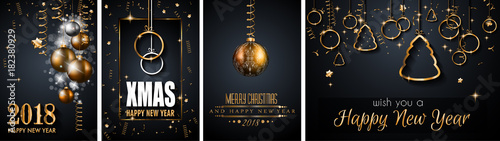 Fotografie, Obraz  2018 Happy New Year Background for your Seasonal Flyers and Greetings Card