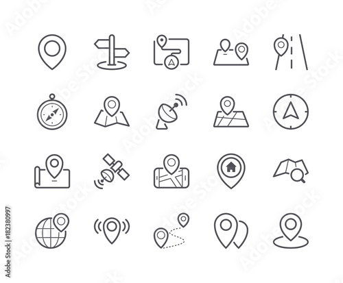 Minimal Set of Map and Location Line Icons Wall mural
