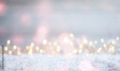 Ethereal Christmas background with sparkling bokeh Canvas Print