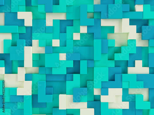 Photo  Abstract 3d geometric constructor colorful background - 3d illustration