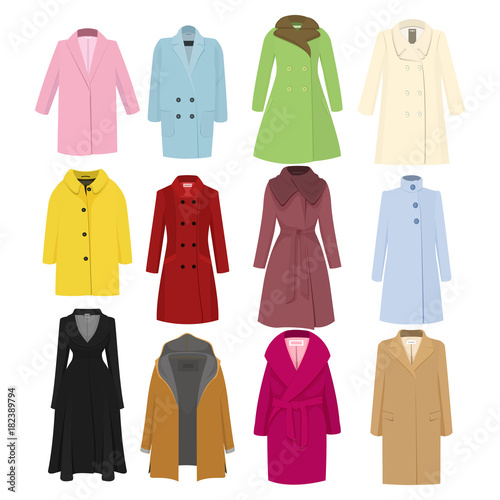 Fotografie, Obraz Set of autumn winter models female coat. Vector illustration