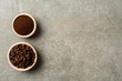 Roasted coffee beans in wooden bowls